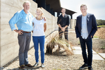 Peter Maddison (right) at the Mystery Bay build featured in season 9 of Grand Designs Australia.