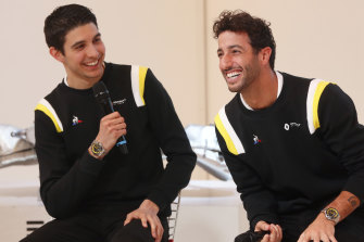 Renault duo Esteban Ocon (left) and Daniel Ricciardo.