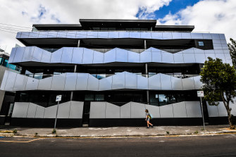 The $5 million Port Melbourne apartment development that has sat vacant for almost a year.