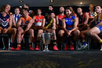 The AFL's club captains during the pre-season captain's day.