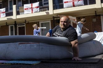 Chris Dowse chills out in the middle of the newly decorated Kirby Estate in London.
