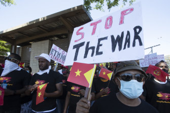 Members of the Tigrayan-Ethiopian community in Pretoria, South Africa, protest against the conflict in Ethiopia's Tigray region.