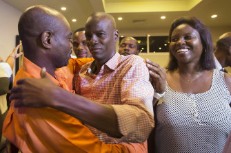 Slain Haitian president Jovenel Moise, pictured on the campaign trail with his wife Martine.