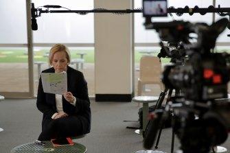 Sarah Ferguson preparing to interview convicted paedophile Bernard McGrath in prison for the Revelation series.