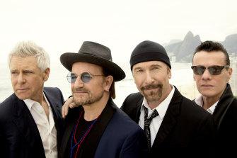 U2 in Rio de Janeiro, Brazil, in 2017 (l-r): Adam Clayton, Bono, The Edge, Larry Mullen Jr.