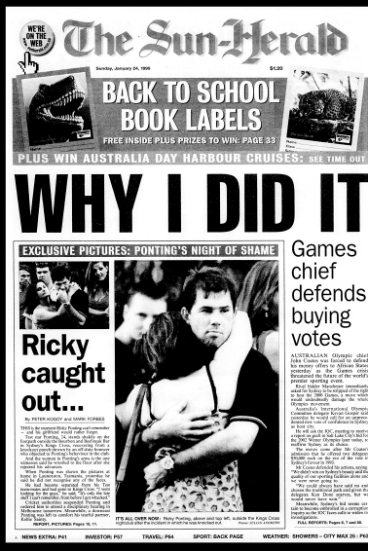 Flashback: The Sun-Herald reports Ricky Ponting's infamous night out.
