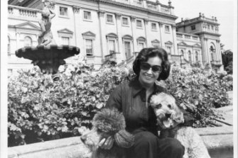 Lady Harewood with her dogs, 1976.