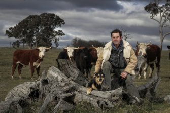 Cattle and sheep farmer Landon Hodgkinson on his property near Yass.