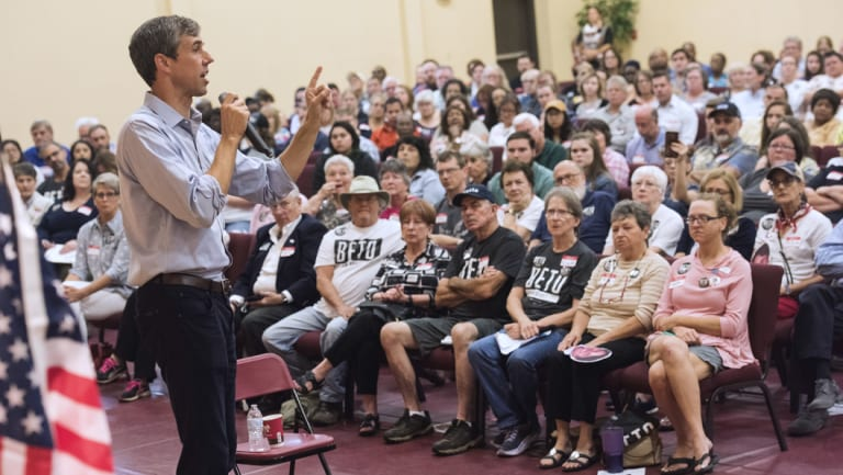 Texas Democratic Senate candidate Beto O'Rourke speaks during a campaign stop at St. Louis Baptist Church in Tyler, Texas.