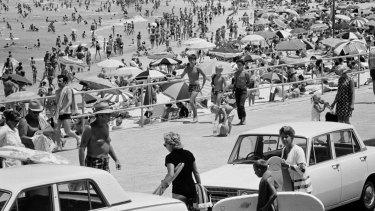 Bondi, 1970. Plenty of umbrellas but very little sunscreen.