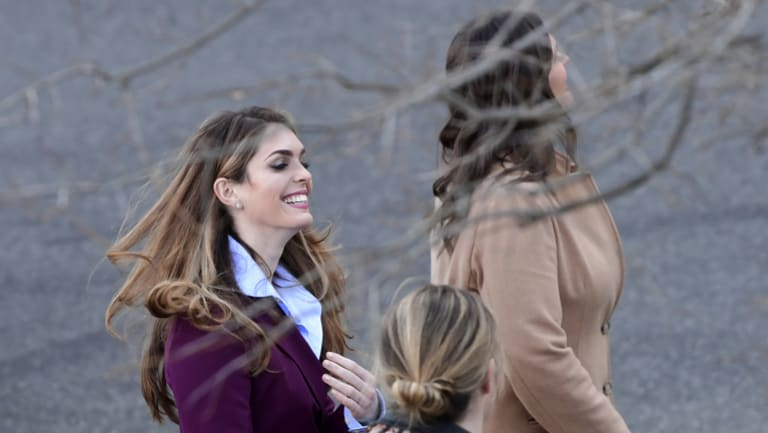 Who will constrain Donald Trump's outbursts once his communications director  Hope Hicks, pictured left with  press secretary Sarah Huckabee Sanders, has left the White House?