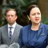Queensland Premier Annastacia Palaszczuk and her deputy, Health Minister Steven Miles, announce the death in Blackwater.