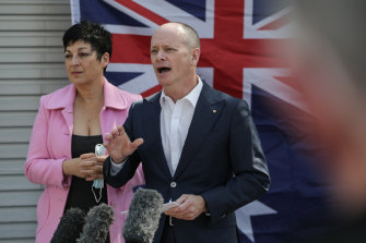 Campbell Newman with with wife Lisa announcing his Senate run with the Liberal Democrats.