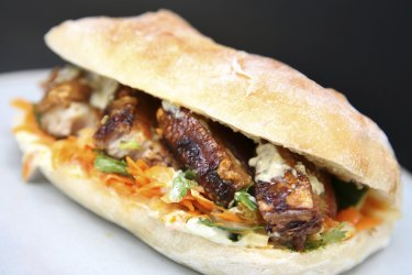 Kimchi pork ciabatta from Humble Bakery in Holt St, Surry Hills. Sydney.