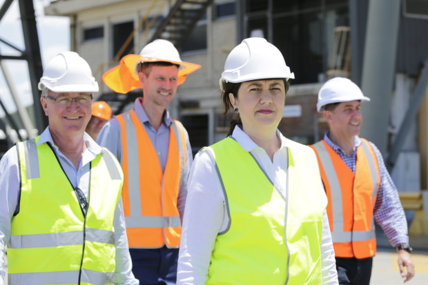 Premier Annastacia Palaszczuk visited Townsville's port during the October election campaign with now Mundingburra MP Les Walker, Transport Minister Mark Bailey and Treasurer Cameron Dick.