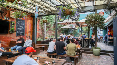 Melburnians are back at the pubs, albeit with density limits for the time being.