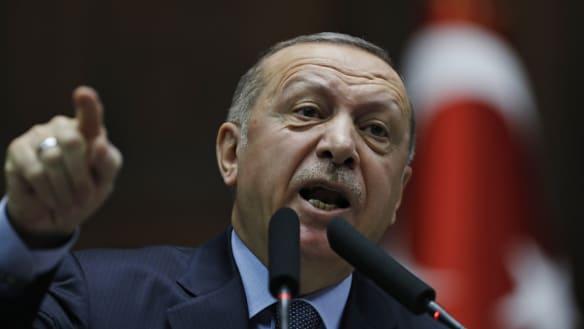 Turkish leader blasts US on bid to shield Syrian Kurds