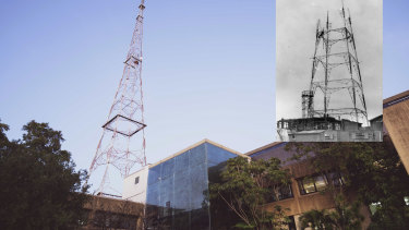 Then and now ... the TCN-9 site in 2020 and, inset, the transmitter tower during construction in 1956.