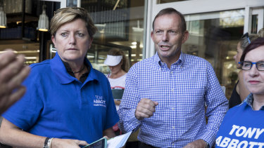 Tony Abbott out on the hustings in Warringah with his sister Christine Forster and her wife Virginia Flitcroft.