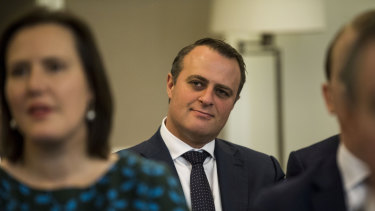Tim Wilson during a joint party room meeting at Parliament House in Canberra