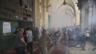 Fighting in the al-Aqsa Mosque compound.