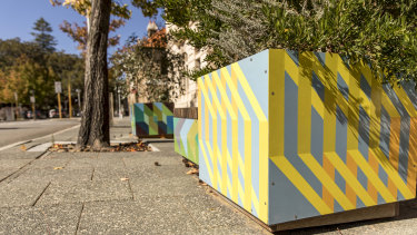 Planter boxes installed in East Perth, decorated by local artists.