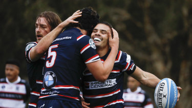 Eastern Suburbs back-rower Charlie Smith celebrates a try in his side's 36-10 win over West Harbour.