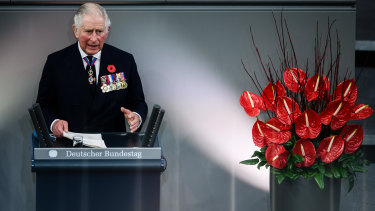 Prince Charles gives a speech on Sunday during a memorial ceremony at the German parliament Bundestag to commemorate the national day of mourning for the victims of war and dictatorship.