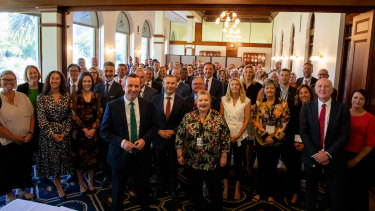 WA Premier Mark McGowan with the first Labor caucus following the 2021 landslide election.