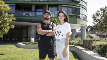 Upset and frustrated: Opal Tower residents Josh and Sultan Keles.