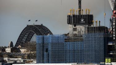 The Crown casino under construction at Barangaroo.