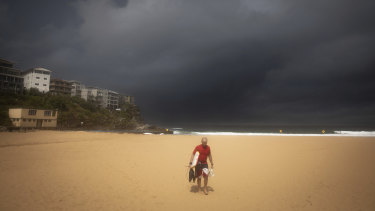 Dark storm clouds above Queenscliff Beach as wet weather rolled across NSW on Monday.