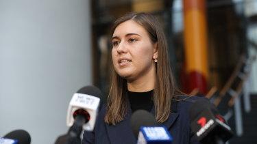 Former political staffer Brittany Higgins speaks to the media after meeting with Prime Minister Scott Morrison on April 30.