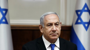 Israeli Prime Minister Benjamin Netanyahu attends a weekly cabinet meeting in Jerusalem earlier this month.