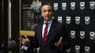 NRL CEO Andrew Abdo addresses the media following news the Dolphins have been confirmed as the competition's 17th team.