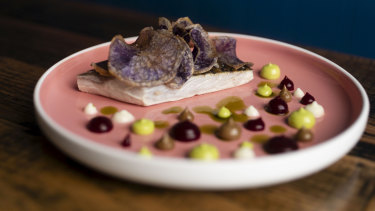 Cappon magro, the popular Genoan seafood salad, has been transformed with an elegant piece of sea mullet and surrounded by dots of red beetroot gel, parsley mayonnaise, black garlic and a silky potato cream.