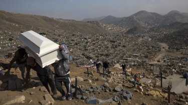 Relatives carry the coffin of their loved one during a burial in the section of the Nueva Esperanza cemetery reserved for COVID-19 cases, in the outskirts of Lima, Peru.