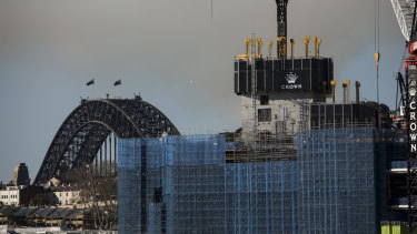A view from Pyrmont of Crown Casino being constructed at Barangaroo in Sydney on Thursday.