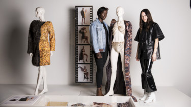Designer Kym Ellery (right) is mentoring fashion graduate Lily James through a new program at the Museum of Applied Arts and Sciences.