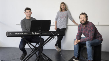 Musical director Steven Kreamer and actors Katrina Retallick and Justin Smith prepare for the online production of a musical.