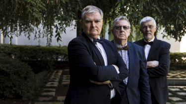 'Bank Warriors' (from left) Craig Caulfield , Selwyn Krepp and Michael Sanderson at Parliament House.