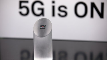 """The Huawei """"Balong 5000"""" chip for 5G devices is unveiled during an event in Beijing last week."""