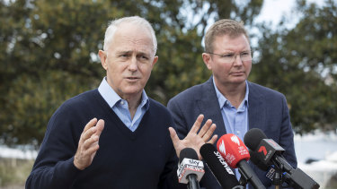 Craig Laundy with former prime minister Malcolm Turnbull in Drummoyne last year.