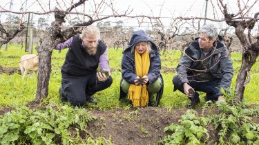Vanya Cullen with winemaker Andy Barret-Leonard, vineyard manager Brian Martin (right) and winery dog Solly.