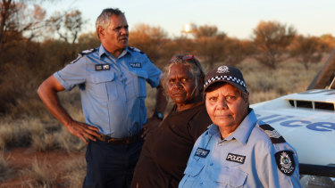 Acting Senior Sergeant Revis Ryder (left) with Warakurna elder Daisy Ward and Sergeant Wendy Kelly in Our Law.