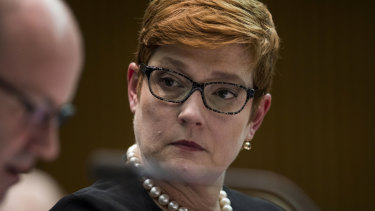Foreign Affairs Minister Marise Payne during a Senate Estimates Committee hearing.