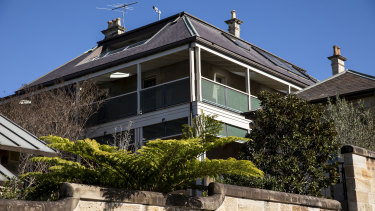 Malcolm Young's Balmain home, Onkaparinga, also known as 'Cockroach Castle' with its security cameras pointed to the harbour view.