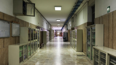 School is out: an empty corridor at La Sapienza University in Rome, Italy.