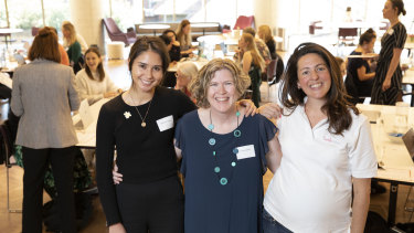 Research Assistant at Cancer Council NSW, Gabriella Tiernan (left),  Human Resources manager at the Centenary Institute, Nanette Herlihen, and Dr Melina Georgousakis at the women in STEM wikipedia edit-athon.