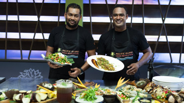 Contestants Mohammed Shamin Ali (at left) and Manasa Bolawaotabu plate up for the show.